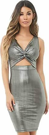 Forever 21 Forever 21 Metallic Twist-Front Cutout Dress Silver