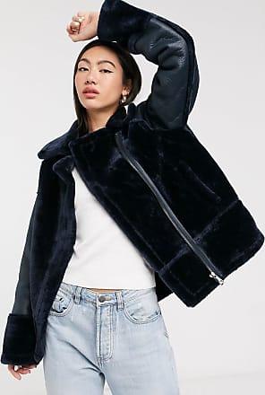 Whistles faux fur biker jacket in navy-Black
