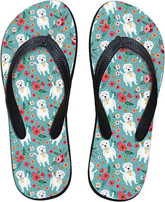 Coloranimal Non-Slip House Home Slippers for Bedroom Shower Flip-Flops Westie Flower Printed EU36
