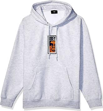 Obey Mens Slim Icon Hooded Sweatshirt, Ash Grey, XL