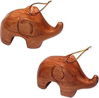 Novica HD0018 Little Brown Elephants (Pair) Wood Ornaments