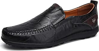 LanFengeu Men Leather Loafers Breathable Anti Slip Casual Business Flats Outdoor Walking Low Top Driving Shoes Moccasins Black