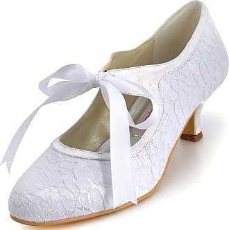 Elegantpark A3039-2 Wedding Shoes for Bride Low Heel Bridal Shoes Closed Toe Lace Mary Jane Shoes Wedding Prom Party Court Shoes White UK 5(EU 38)