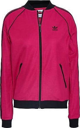 c4149eaf5d8c adidas Adidas Originals Woman Striped Cotton-blend Jersey Track Jacket  Fuchsia Size 40