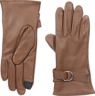 Adrienne Vittadini Womens Leather Touchscreen Gloves with Lambswool Lining, Cognac, Medium