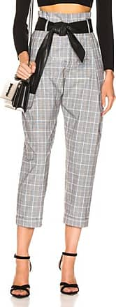 Marissa Webb Anders Pant with Leather Belt in Gray,Plaid