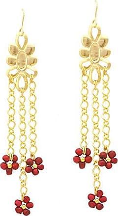 Tinna Jewelry Brinco Dourado Flor E Correntes (Pau-Brasil)