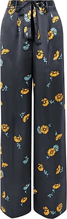 Equipment Evonne Belted Floral-print Silk-satin Wide-leg Pants - Navy
