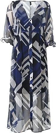 Dimy Vestido dimy Midi Geométrico Azul/Bege