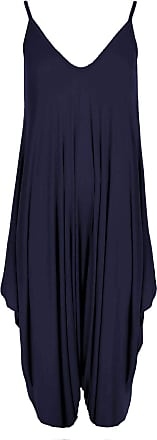Top Fashion18 Ladies Baggy Cami Strappy Lagenlook Harem Playsuit Jumpsuit Dress TopSize 8-26 Navy
