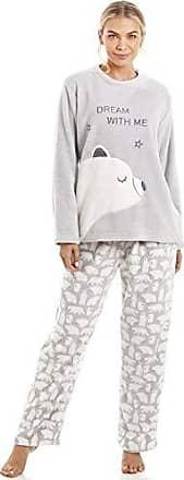 Camille Damen Schlafanzug aus Fleece Grau Kariert