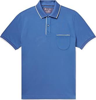 Loro Piana Contrast-tipped Stretch-cotton Piqué Polo Shirt - Blue