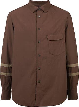 Ziggy Chen stripe sleeve shirt - Brown