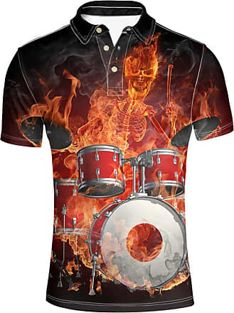 Hugs Idea Mens Golf Sport Shirt Drum-kit Skull Print T-Shirts Fashion Comfortable Short Sleeves
