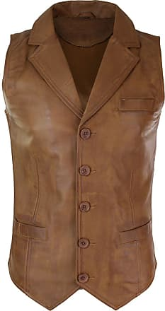 Infinity Mens Real Leather Tan Brown Black Smart Casual Gilet Waistcoat Vintage Retro