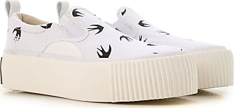 Alexander McQueen Slip on Sneakers for Women On Sale, White, Canvas, 2017, 10