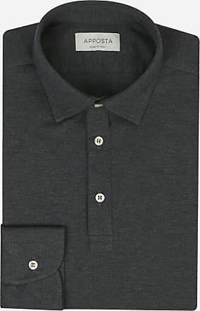 Apposta Polo camicia a manica lunga in cotone piqué grigio scuro