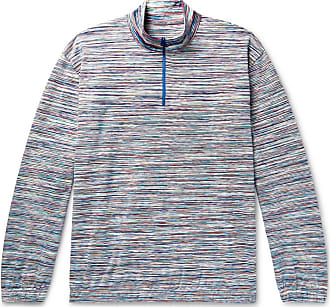 Missoni Space-dyed Cotton Half-zip Sweater - Blue