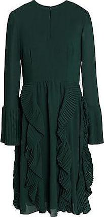 Mikael Aghal Mikael Aghal Woman Pleated Ruffled Crepe Dress Dark Green Size 0