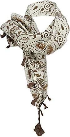 Halstuch rotbraun in braun beige schwarz grau t/ürkis gemustert mit Bommel und Tusseln 100 x 100 cm