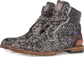 Floris Van Bommel Cremeweißer Premium Ponyfell-Schnürstiefel mit Print, Boots, Lederstiefel, Designer Schuh, Handgefertigt