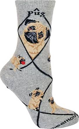 Wheel House Designs Pug Dog Gray Cotton Ladies (9-11) Socks by Wheel House Designs