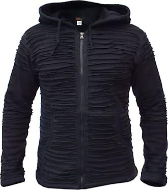 Gheri Mens Cotton Black Razor Cut Ripped Hoodie Jacket Summer Large