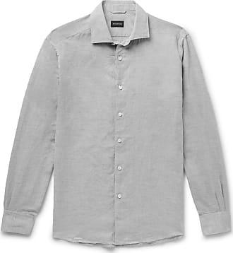 Ermenegildo Zegna Mélange Cotton And Linen-blend Oxford Shirt - Gray