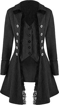 Saoye Fashion Tops Women Fashion Elegant 2020 Style Autumn Medieval Solid Long Feast Clothing Sleeve Three Breasted Ms. Jacket Irregular Tops (Color : Black, One Si