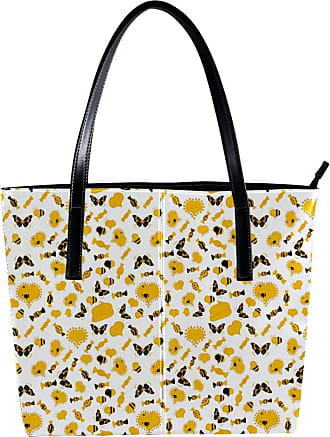 Nananma Womens Bag Shoulder Tote handbag with Nice Bee Butterfly Hearts Love On White, Yellow Colors Print Zipper Purse PU Leather Top-handle Zip Bags
