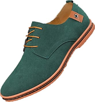 LanFengeu Men Business Casual Shoes Suede Leather Lace up Pointed Toe Derbys Breathable Non Slip Office Work Dress Shoes Green
