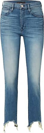 3x1 W3 Straight Authentic Crop Distressed High-rise Straight-leg Jeans - Mid denim