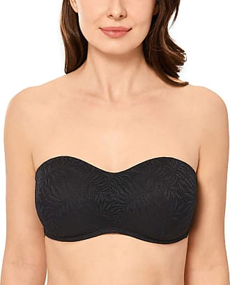 Delimira Womens Strapless Minimizer Bra Underwire Lace Bandeau for Large Bust Black 40DD