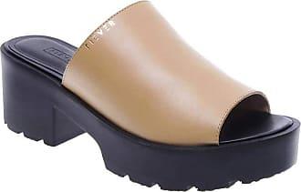 Fiever Sandália Fiever Mule Tratorada Couro Old Feminino - Tamanho Calçado(34) Cores(marrom/preto)