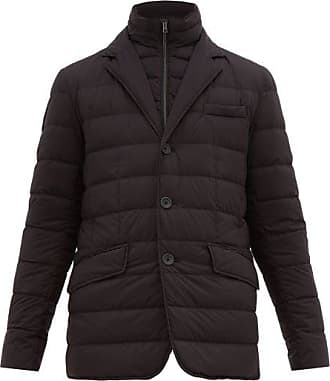 Herno Single-breasted Quilted-down Jacket - Mens - Black