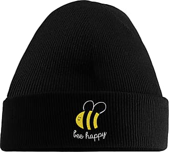 HippoWarehouse Bee Happy Embroidered Beanie Hat Black