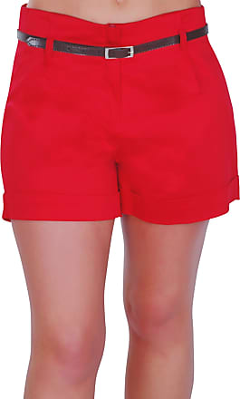 Eyecatch Cuba Ladies Belted Shorts Womens Smart Turn Up Hot Pants (red, Size 12)