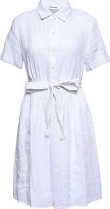 Frame Denim Frame Woman Belted Striped Linen Shirt Dress White Size XL