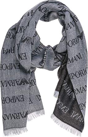 Emporio Armani Grey Fine Woolmix Multi Logo Scarf 625053 CC786 One Size