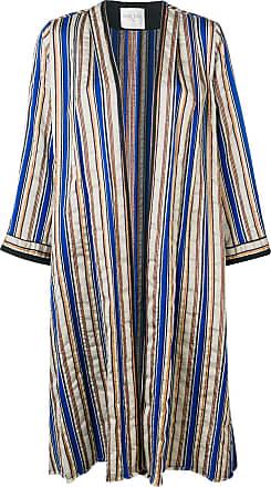 Forte_Forte striped long sleeved coat - Brown
