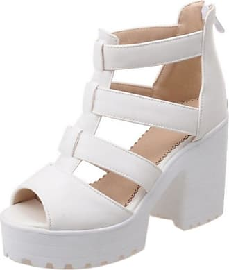 RAZAMAZA Women Chunky Heel Sandals Comfort Platform Gladiator Strappy Shoes (34 EU, White)