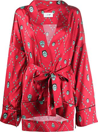Kirin mask-printed kimono - Red