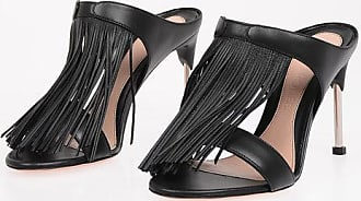 Alexander McQueen Leather Mules with Fringes 10.5 cm size 38,5