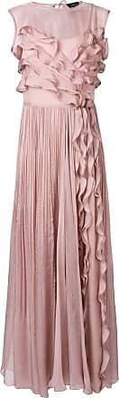 Irina Schrotter Vestido longo com babado - Rosa