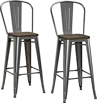 Dorel Home Products DHP Luxor Metal Counter Stool with Wood Seat and Backrest, Set of two, 30, Antique Gun Metal