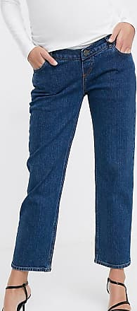 Asos Maternity ASOS DESIGN Maternity High rise stretch slim straight leg jeans in mid vintage wash with over the bump band-Blue