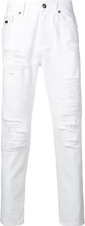 John Richmond Calça jeans slim com detalhes puídos - Branco