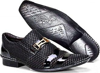 Calvest Sapato Social Masculino Calvest em Couro Snake perto com Bridão Dourado - 1750C353-40