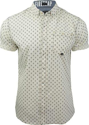 Firetrap Bulstrode Cotton Anchor Pattern Shirt Short Sleeve Ecru