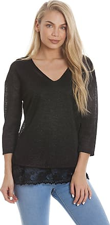 Camille Womens Stylish 3/4 Sleeve V Neck Black Sparkly Lace Top 14